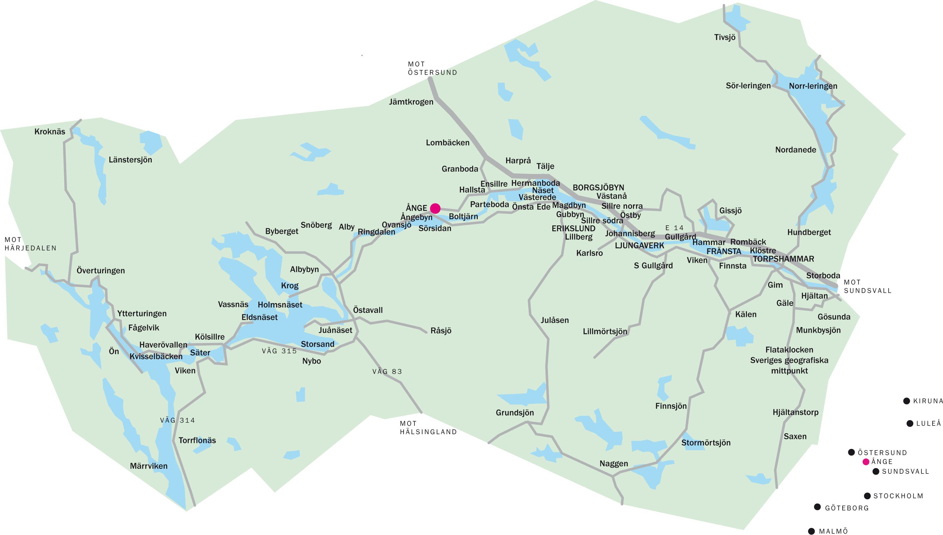 karta över sundsvalls kommun Kartor och geografisk information   Ånge kommun karta över sundsvalls kommun